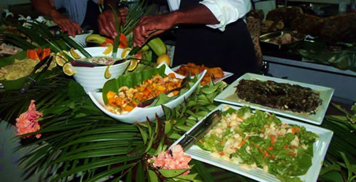 Food at the Kai Time Restaurant, Taveuni